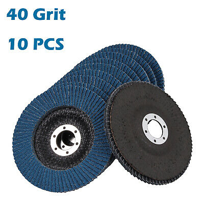 "10PCS 5"" 125mm Zirconia Flap Discs Wheels Angle Grinder High Density 40 Grit AUS"