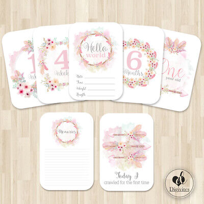 Baby Girl Milestone Cards, Boho Floral Tribal, Photo props, 40 cards, 300gsm