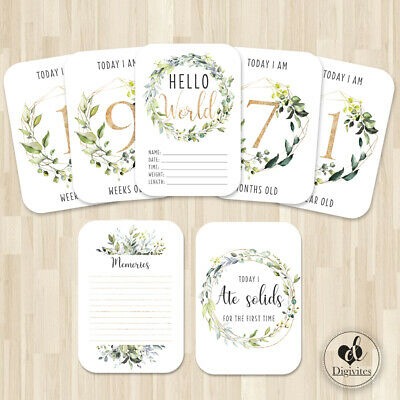 Baby Milestone Cards, Botanical, Photo props, 40 cards, 300gsm, Unisex, neutral