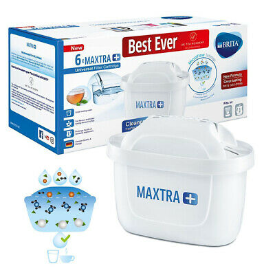 6 Pack BRITA Maxtra +Plus Water Filter Jug of Replacement Cartridges Refills NEW