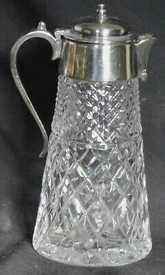 Antique Edwardian Silver Mounted Cut Glass Syrup Pitcher Elegant Decanter Claret