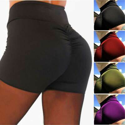 UK High Waist Women Gym Yoga Booty Shorts Beach Sport Sexy Hot Pants Bottom Slim