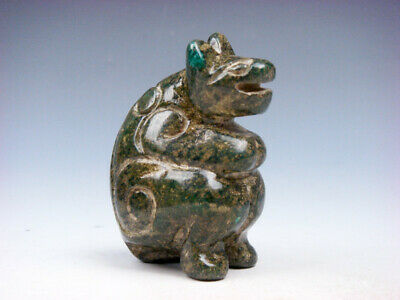 Old Nephrite Jade Stone Carved Sculpture Ancient Dragon Head Monster #08061907