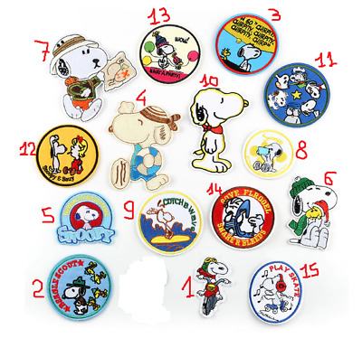 Patch Toppa Snoopy Dog Ricamata Termoadesiva 15 styles Iron Sew on Embroidered
