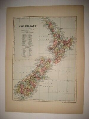Superb Vintage Antique 1895 New Zealand Map County Detailed Rare Fine Nr