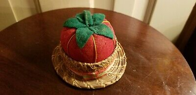Vintage Felt Tomato Needle Pin Cushion Sweetgrass & Wood Holder