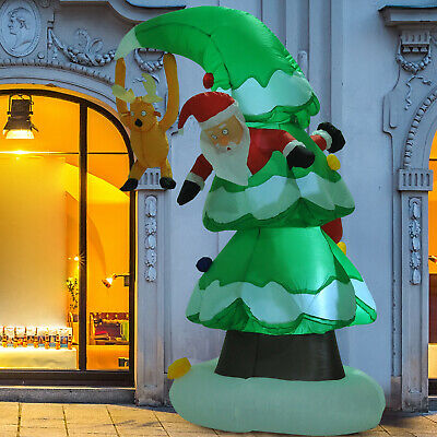 7 Ft Inflatable Christmas Tree Stuck Santa Lawn Decor Lighted Airblown Outdoor