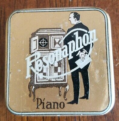 Very rare Gramophone phonograph needle tin, Resonaphon Piano