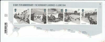 Gb 2019 D Day Normandy Landings Miniature Sheet Stamp Set With Bar Code Ms4236