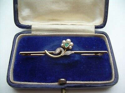 Antique Victorian/Edwardian 15ct Gold & Platinum Emerald & Pearl Bar Brooch.