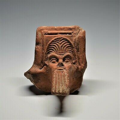 Large Ancient Greek Terracotta Head Of Silenus: A Fragment From A Brazier. Rare.