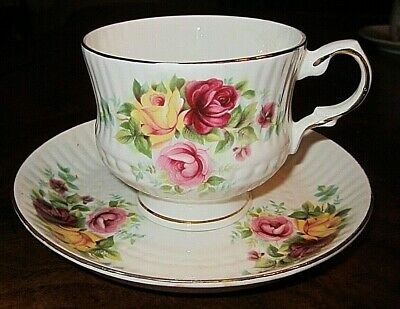 Vintage Hitkari, India White Embossed Porcelain  Tea Cup & Saucer, Roses