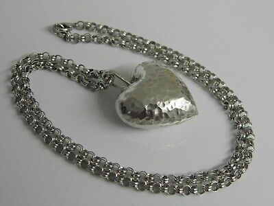 A Superb Large Sterling Silver Hammered Heart Pendant & Ornate Silver Chain