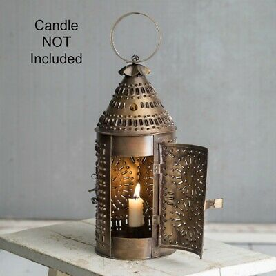 New Primitive Punched Tin ANTIQUE BRASS REVERE CANDLE HOLDER LANTERN Hanging