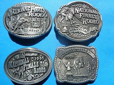 Hesston National Finals Rodeo Belt Buckle NFR YOUTH Lot of 4 1995 1996 1997 1998