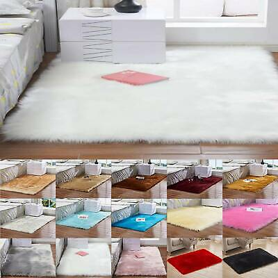 Soft Faux Rabbit Fur Rug Fluffy Soft Wool Shaggy Area Rugs Carpet Bedroom Mat UK