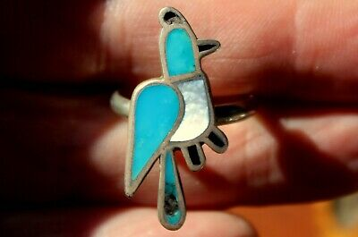 Old Zuni Sterling Silver & Turquoise Stone & Shell Inlay BLUE BIRD Ring