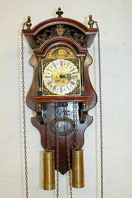 Old Wall Clock vintage Dutch Friesian Schippertje Saarlande internal pendulum