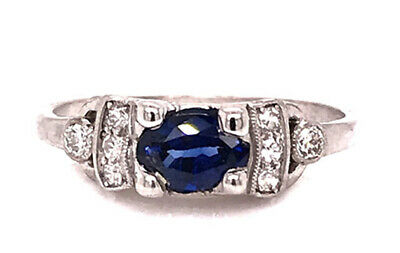 Vintage Sapphire Diamond Engagement Ring .90ct Antique Platinum Art Deco Oval