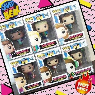 Funko Pop! SAVED BY THE BELL Lot of 6 Zach, Screech, Slater, Lisa, Kelly, Jessie