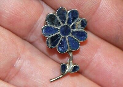 Small Old Sterling Silver & Inlaid Lapis Lazuli Stone FLOWER Brooch Pin/Pendant