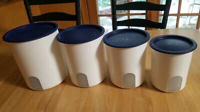 Lot Of 4 Tupperware One Touch Nesting Canisters ~2416~2418~ 2420~2422 Blue Lids