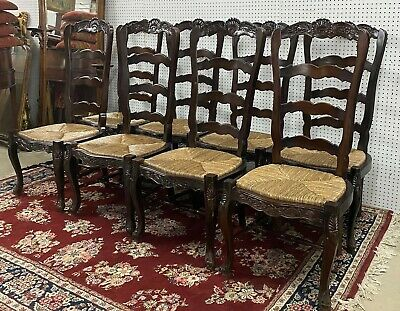 "8 Antique Style Carved Country French Rush Hardwood Dining Chairs 48"" Louis XV"