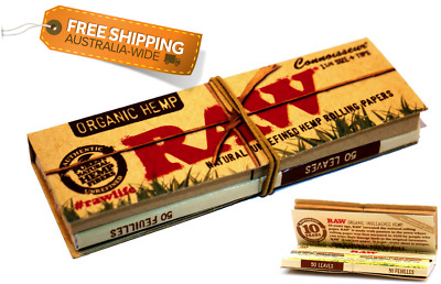 50 Leaves + Tips | RAW HEMP Rolling Papers For Cigarette Tobacco Organic Roach