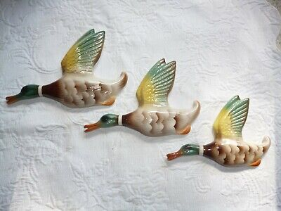 Vintage English Pottery Flying Wall Hanging Ducks . Keele St Pottery