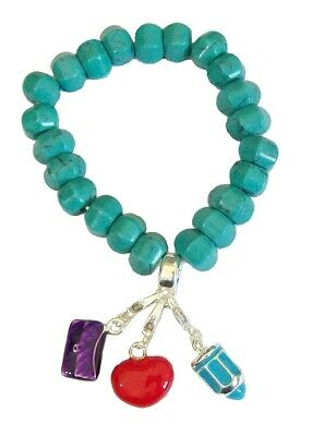 Silver Turquoise Bead Stretch Bracelet Purse Heart Pencil Charms Dress Jewellery
