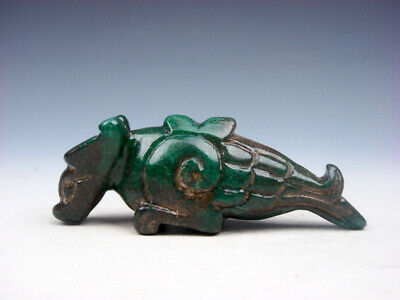 Old Nephrite Jade Stone Carved Sculpture Ancient Dragon Bird Beast #07271903