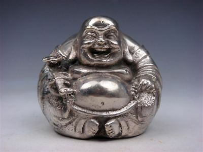 Vintage Silver Copper Crafted Sculpture Laughing Buddha Holds RU-YI Prayer Beads