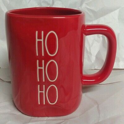 "Rae Dunn by Magenta Christmas 🎄L/L  ""HO HO HO""  All-Red Coffee Mug HTF Rare"