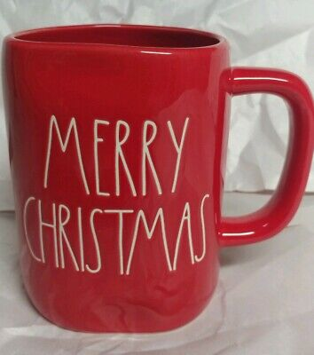 "Rae Dunn by Magenta Christmas 🎄L/L  ""MERRY CHRISTMAS"" Red Coffee Mug HTF Rare"