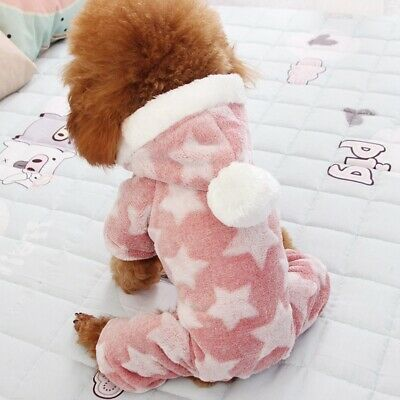 Winter Warm Dog Hoodie Pet Coral Fleece Clothes Cute Pattern Puppy Costume Daily