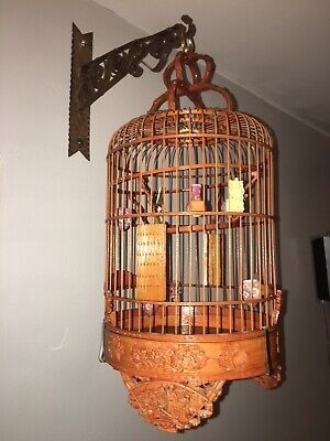 Antique Chinese Wood Bamboo Carved & Porcelain Dishes Bird Cage W/Hook