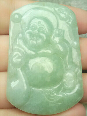 Certified Oily Green Natural A Jade Jadeite Carved Pendant Happy Buddha God Bag