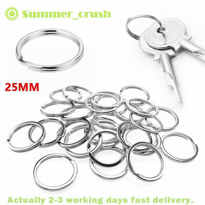 20/50/200x Steel Keyring Split Key Rings 25MM Hoop Ring Nickel Plated Steel Loop