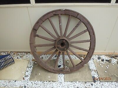 Large Original Wooden Wagon Wheel with steel band - Rustic Country