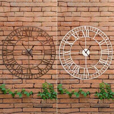 LARGE SKELETON WALL CLOCK GARDEN HOME ROMAN NUMERAL OPEN FACE VINTAGE METAL Wido