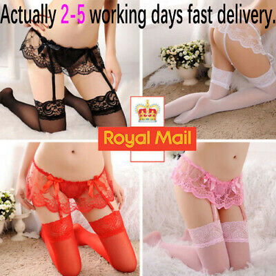 Suspender Belt and Stockings Wide lace silky Black White Red FIRST CLASS POST W