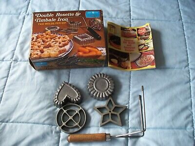 Nordicware double Rosette & Timbale Irons with 4 molds and instruction booklet