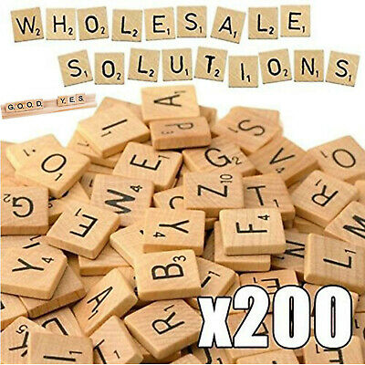200 Wooden Scrabble Tiles Black Letters Numbers Craft High Quality Wood Alphabet