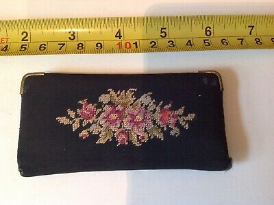 OLD RETRO VINTAGE 40s 50s BLACK EMBROIDERED FLORAL COMPACT MIRROR case wallet