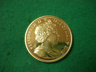 Gilt 2006 Isle Of Man Commemorative 1 Crown Queens 80th Birthday BU (O-48)