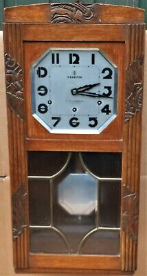Good Looking Old Art Deco Type Vedette Wooden Cased Wall Clock To Repair