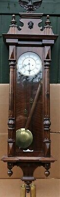 Beautiful Very Large Wooden Cased Double Weighted Vienna Wall Clock Has Eagle On