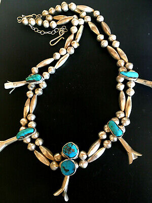 Vintage SQUASH BLOSSOM NECKLACE Turquoise STERLING SILVER Navajo Native American