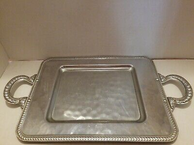 Vintage Silver Plated Serving Tray With Handles