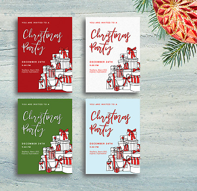 Line Art Theme | Personalised Christmas Party Invitations & Thank You Cards